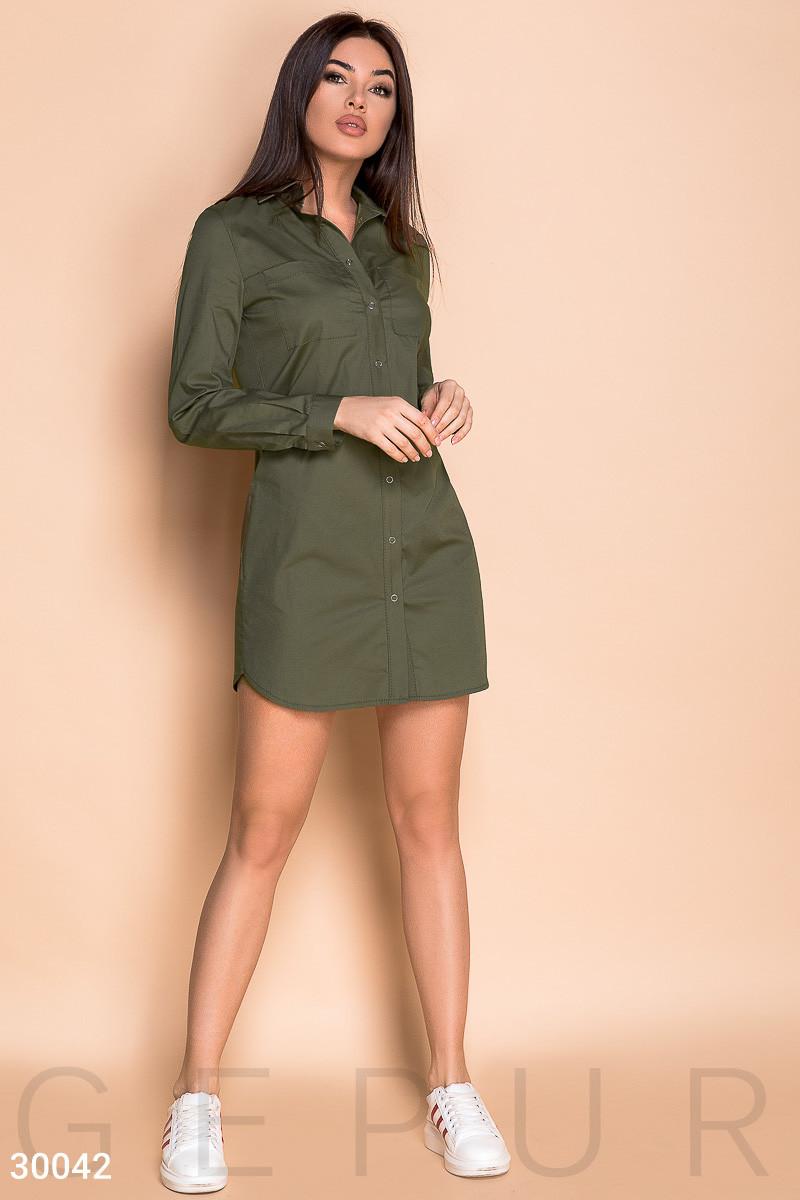 Платье женское-рубашка в стиле милитари