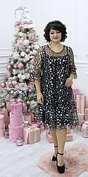 Женское праздничное платье трапеция , ткань трикотаж и сетка , размеры 48,50,52,54, (2115) черное,сукня