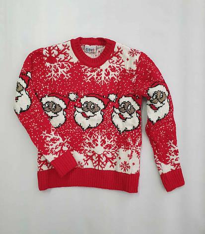Новогодний красный свитер на девочек 2-6 лет Дед мороз, фото 2