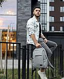 Мужской рюкзак городской, повседневный, матовая эко-кожа - качественный кожзам, серый, фото 2