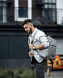Мужской рюкзак городской, повседневный, матовая эко-кожа - качественный кожзам, серый, фото 3
