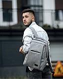 Мужской рюкзак городской, повседневный, матовая эко-кожа - качественный кожзам, серый, фото 5