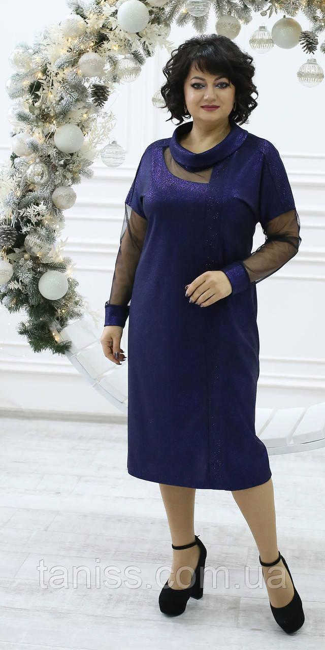 Женское праздничное платье  , ткань креп-фоил и евро-сетка , размеры 52,54,56,58 (2109)  синее,сукня