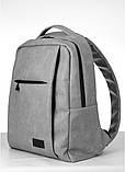 Мужской рюкзак городской, повседневный, матовая эко-кожа - качественный кожзам, серый, фото 6