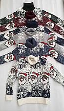 Новогодний красный свитер на девочек 2-6 лет Дед мороз, фото 3