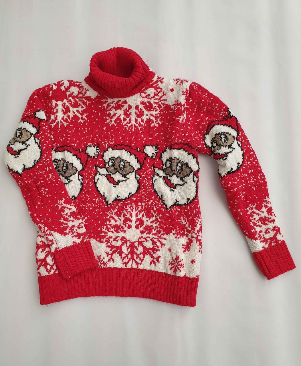 Новогодний красный свитер на девочек 2-6 лет Дед мороз
