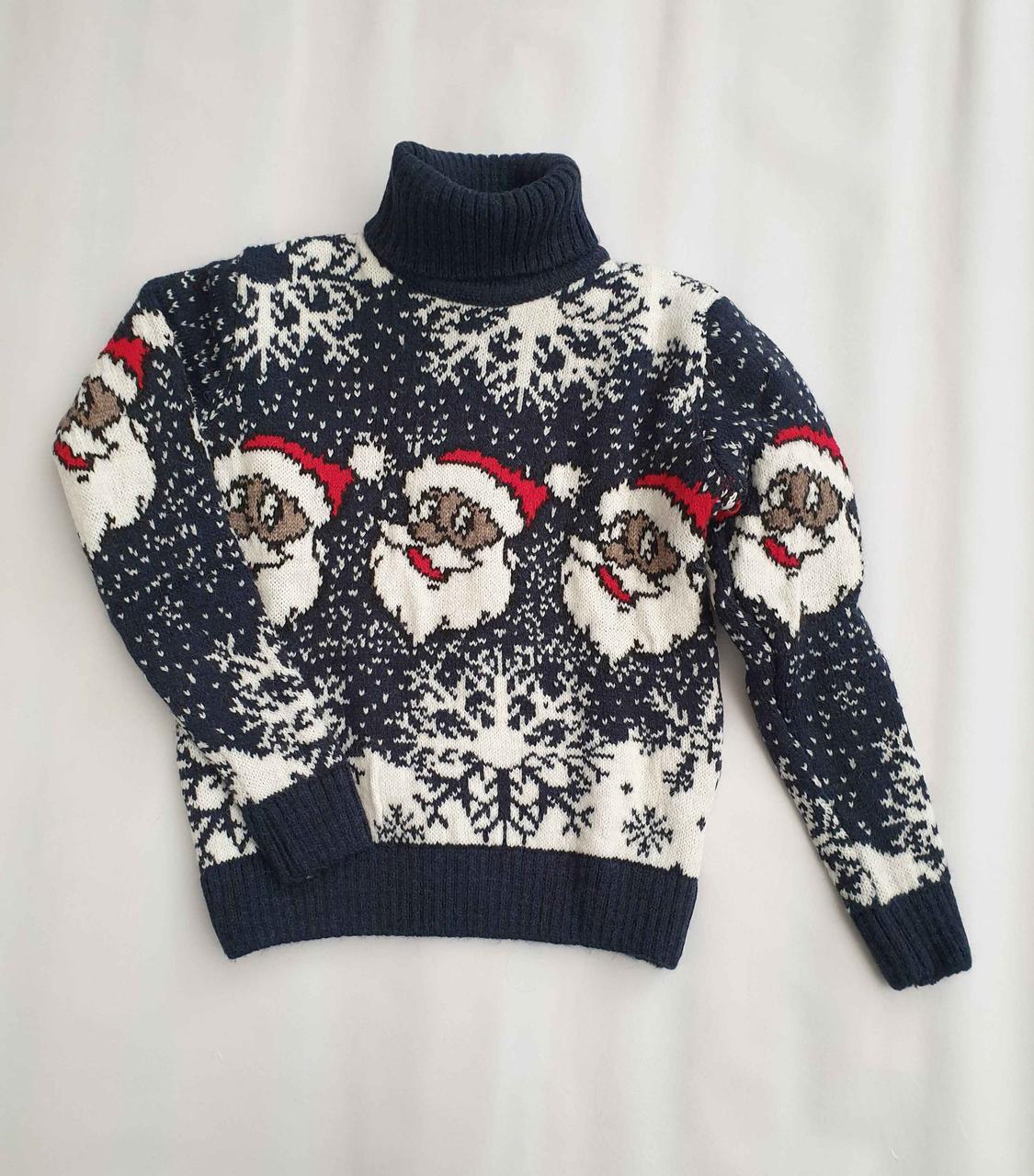 Новогодний свитер на девочек 2-6 лет Дед мороз