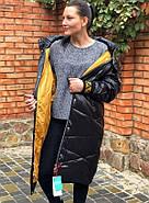 Чёрное длинное пальто TARUN Y020-931-HJH001, фото 4