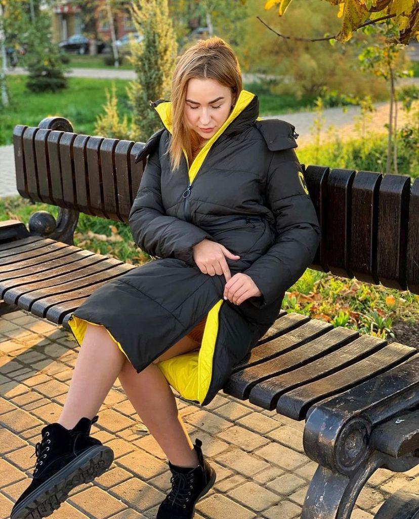 Бананово-оливковое пальто TOWMY TM-AJ-2239