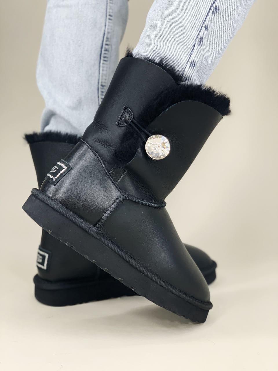 Угги женские Ugg Bailey Button Black Blink черного цвета. Стильные сапоги женские зимние Угги теплые черные.