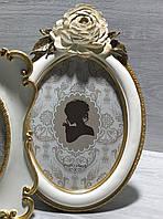 Рамка для фото круглая с объемным декором, 26см, цвет - белый с золотом, фото 1