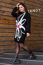 Женское теплое вязаное платье «Zемфира» (черный, белый, ягода), фото 3