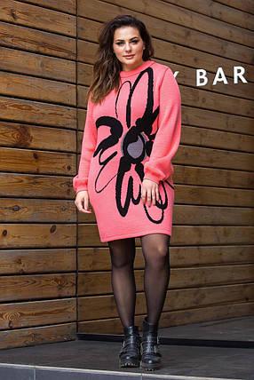 Женское теплое вязаное платье «Zемфира» (коралловый, черный, серый), фото 2