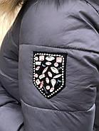 Пуховик с капюшоном опушка натуральній мех Visdeer 813-B11-Grey, фото 6