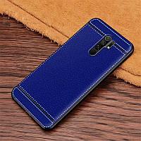 Чехол Fiji Litchi для Xiaomi Redmi 9 силикон бампер с рифленой текстурой синий