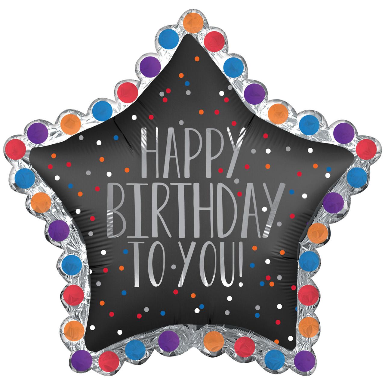 """А 34"""" x 32"""" Happy Birthday to You Satin Black Star Balloon - Pkg. Шар фольгированный С Днем рождения. В уп"""