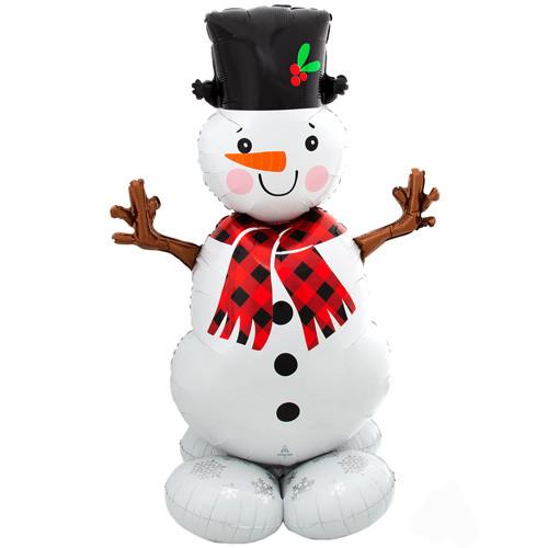 "А 35"" x 55"" AirLoonz Snowman Greeter Foil Multi-Balloon - Pkg. Фольгированный шар ходячка Снеговик. В уп"