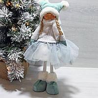 Мягкая новогодняя игрушка Девочка в мятном 38 см