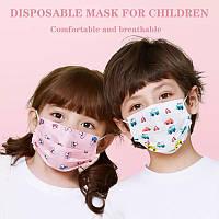 Маска детская медицинская трехслойная с фильтром и зажимом для носа ( упаковка 50шт)