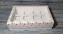 Коробка новорічні я. на 12 кексів, маффінів, капкейків /12 кексов, маффинов, капкейков. 354х241х90мм із вікном