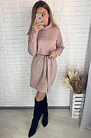 Теплое женское платье с высоким воротником хомутом