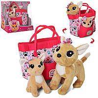 Собачка в сумочке Chi Chi Love с щенком Счастливая семья Кикки M 5428 UA  Чи Чи Лав 2 шт, фото 1