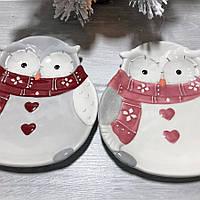 Новогоднее керамическое блюдо Мудрая Сова 26 см 2 вида