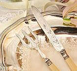 Англійська столовий ніж і вилка з целулоїдними ручками, сріблення, Англія, фото 2