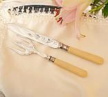 Англійська столовий ніж і вилка з целулоїдними ручками, сріблення, Англія, фото 3