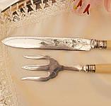 Англійська столовий ніж і вилка з целулоїдними ручками, сріблення, Англія, фото 7