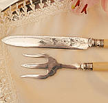 Английский столовый нож и вилка с целлулоидными ручками, серебрение, Англия, фото 7