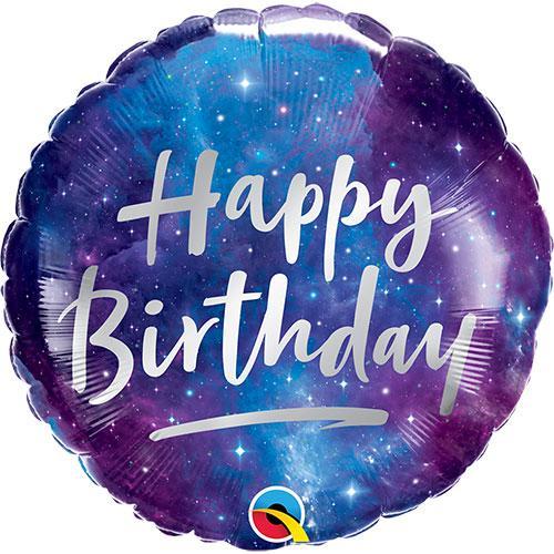 """Q 18"""" Birthday Galaxy Foil Balloon - Pkg. Шар фольгированный космос, галактика С Днем Рождения, В УП"""