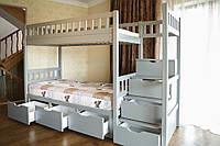 Деревянная двухъярусная кровать Владимир со ступеньками в детскую комнату