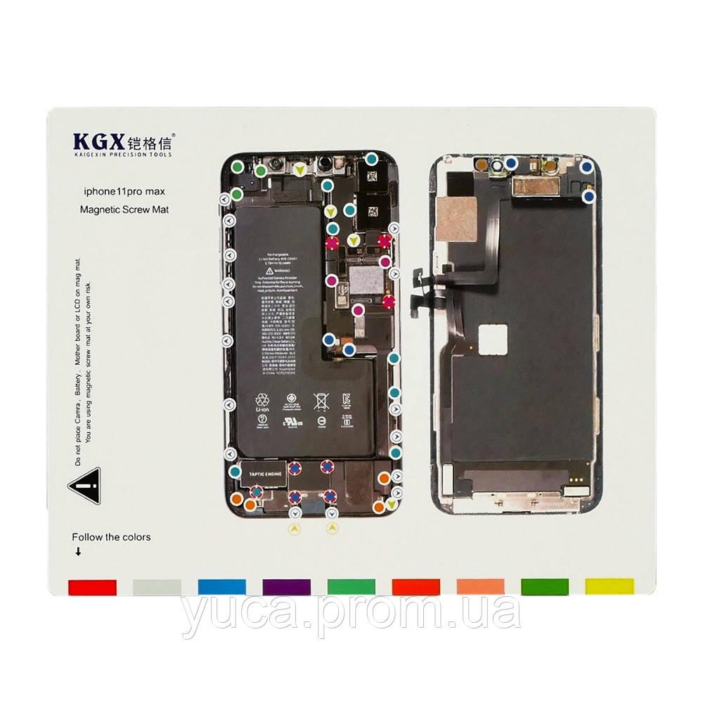 Магнитный мат MECHANIC iP11 PRO MAX для раскладки винтов и запчастей при разборке iPhone 11 PRO MAX