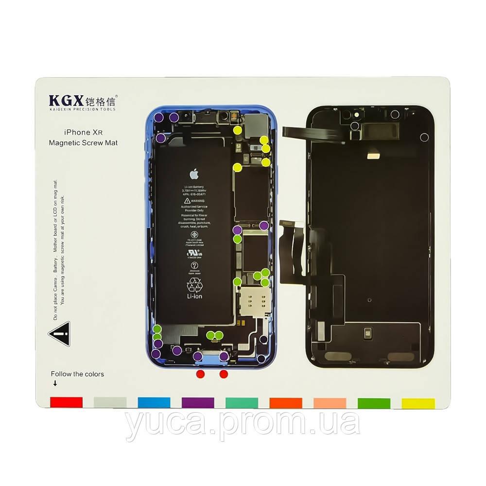 Магнитный мат MECHANIC iPXR для раскладки винтов и запчастей при разборке iPhone XR