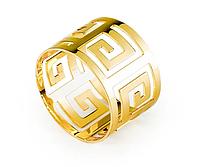 Кільце для серветок REMY-DECOR золоте Гучи з геометричним візерунком для весіль, банкетів, свят