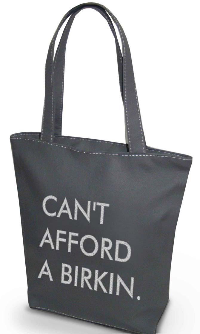 "Женская сумка ""Can't afford a Birkin"" Б344 - серая"