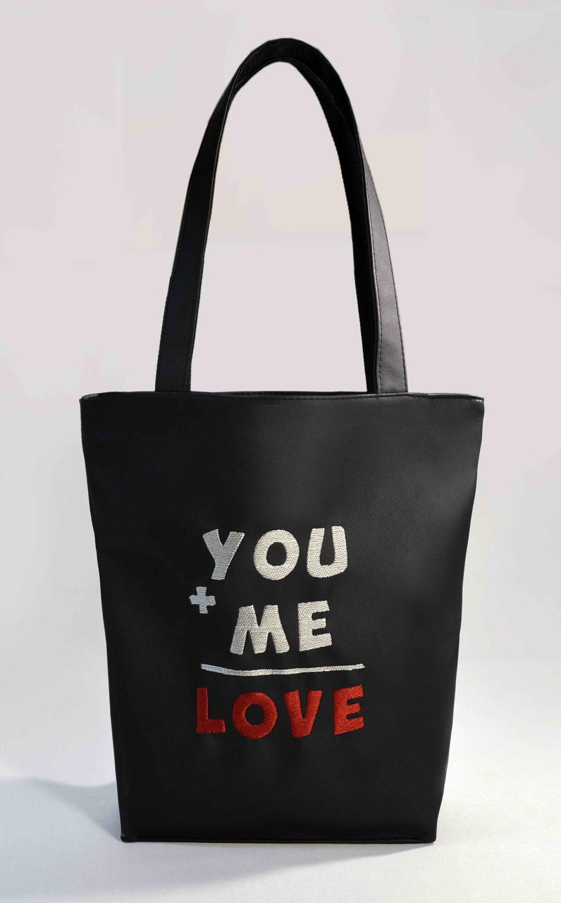 """Женская сумка """"You+Me=Love"""" Б302 - черная"""