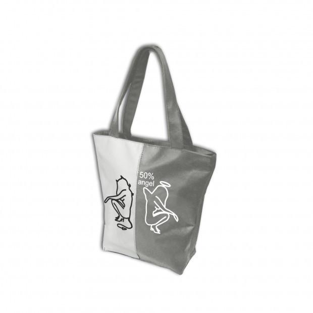 """Женская сумка - """"50%""""(комбинированные ткани) К90- серо-белая"""