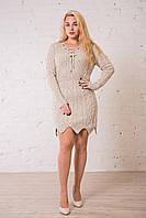 Вязаное платье - туника беж универсального размера (до 50). Замеры в описании., фото 1