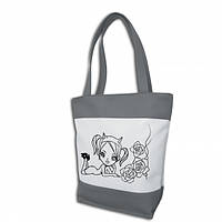 """Женская сумка -""""Чертенок""""(комбинированые ткани)К42 - серо-белая"""