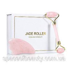 Набор Jade Roller роллер + гуаша из розового кварца + гуаша из розового кварца