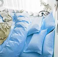 Комплект постельного белья «Голубой» Страйп Сатин Goluboi, Семейный комплект