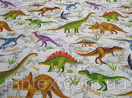Ткань для пошива постельного белья бязь голд Динозавры