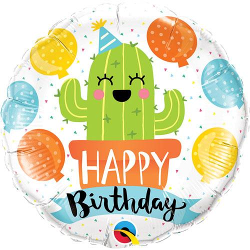 """Q 18"""" Birthday Party Cactus Foil Balloon - Pkg . Шар фольгированный Кактус С Днем Рождения, В УП"""