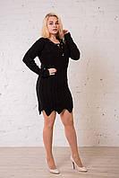 Черное вязаное платье - туника универсального размера (до 50). Замеры в описании., фото 1
