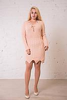 Вязаное платье - туника пудра универсального размера (до 50). Замеры в описании., фото 1