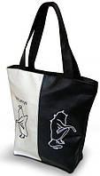 """Женская сумка - """"50%"""" - ( комбинированные ткани ) К 90 - черно-белая, фото 1"""