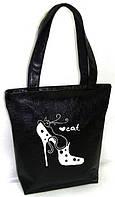 """Женская сумка - """"Кот в туфле"""" Б215 - черная"""