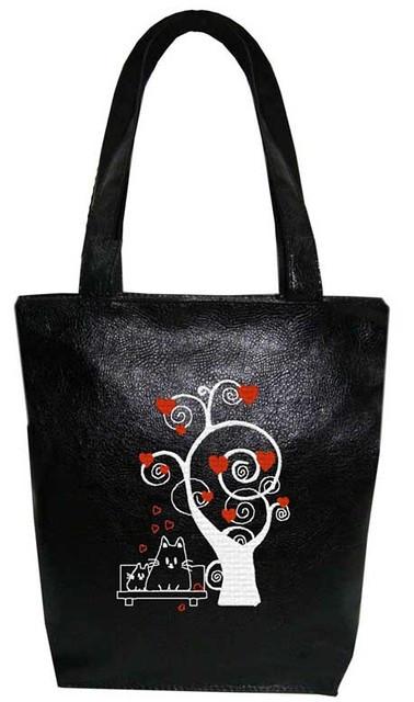 """Женская сумка - """"Коты под деревом"""" Б53 - черная"""